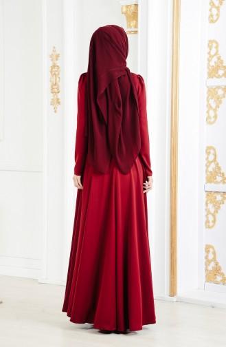 فستان سهرة مُزين ببروش 11178-03 لون خمري 11178-03