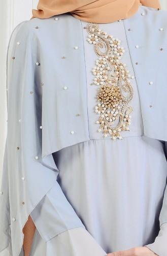 Robe de Soirée Perlées 11152-02 Gris 11152-02