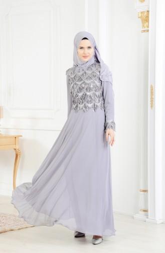 Abendkleid mit Pailetten 4005-01 Grau 4005-01