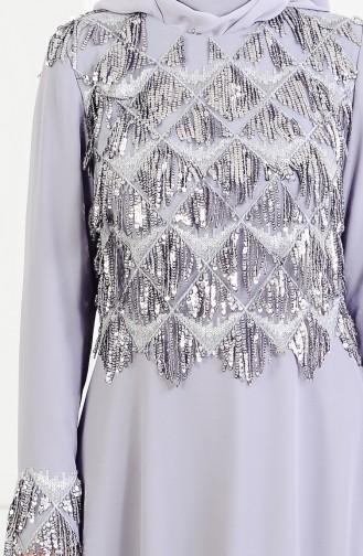 Robe de Soirée a Paillette 4005-01 Gris 4005-01