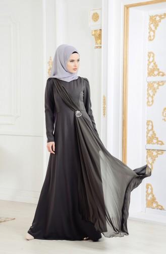 Robe de Soirée avec Broche 11178-01 Khaki 11178-01
