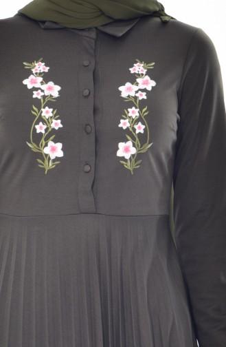Robe Plissée et Bordée 0535-02 Khaki 0535-02