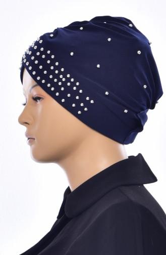 Kreuz Bonnet mit Perlen 0020-02 Dunkelblau 0020-02