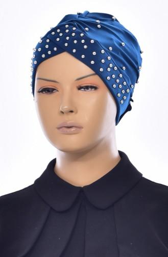 Bonnet Perlés Croisé 0020-11 Pétrole 0020-11