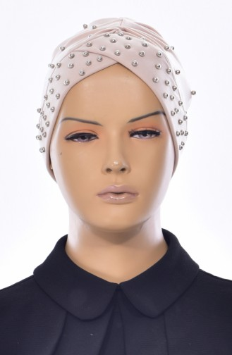 Kreuz Bonnet mit Perlen 0020-13 Beige 0020-13