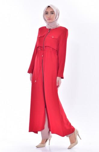 Zipped Laced Abaya 1014-04 Red 1014-04