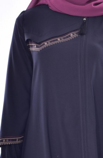 Zippered Abaya 1013-01 Dark Navy Blue 1013-01
