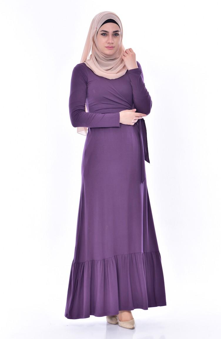 580486ca45 Lace Detail Dress 1423-02 Purple 1423-02