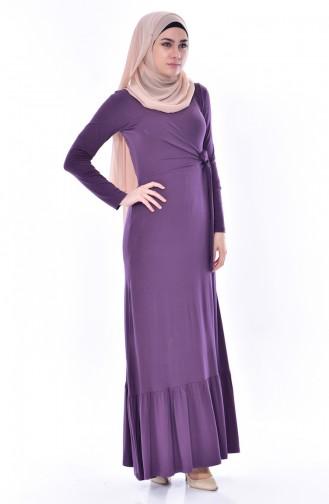 Lace Detail Dress 1423-02 Purple 1423-02