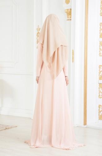 Robe de Soirée Fleur Appliqué 11165-02 Saumon 11165-02
