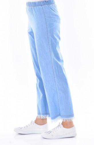 Pantalon a Franges 5172-01 Bleu Clair 5172-01
