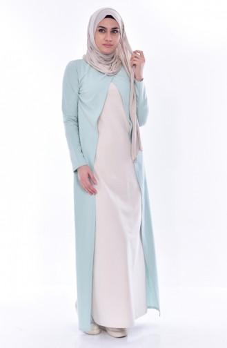 توبانور فستان بتصميم موصول بقطعة 2895-17 لون اخضر فاتح وبيج فاتح 2895-17