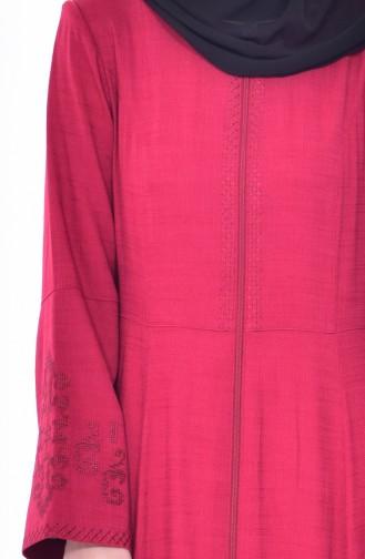 Embroidered Overcoat 1022-01 Fuchsia 1022-01