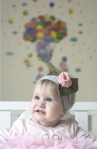 Baby und Kind Blume Accessoire Haarband NBA248 Grau 248