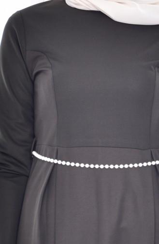 واي إن إس فستان بتصميم حزام للخصر 3840-08 لون أخضر كاكي 3840-08