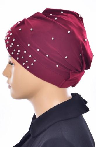 Kreuz Bonnet mit Perlen 0020-09 Weinrot 0020-09