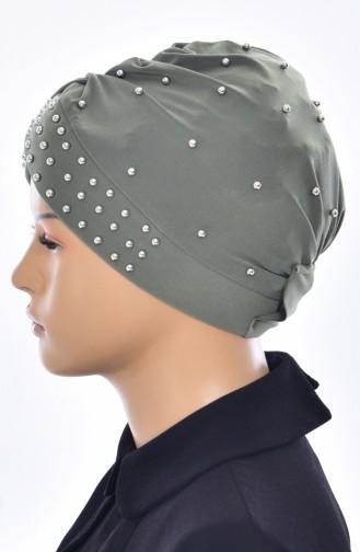 Kreuz Bonnet mit Perlen 0020-10 Khaki Grün 0020-10