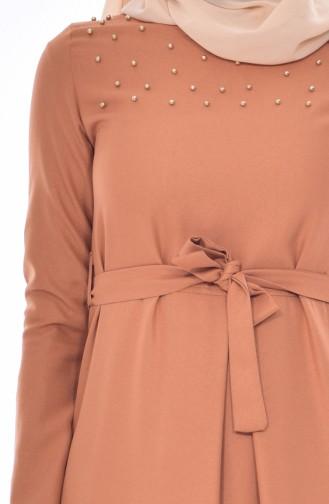 Robe Perlées a Ceinture 5513-03 Moutarde Foncé 5513-03