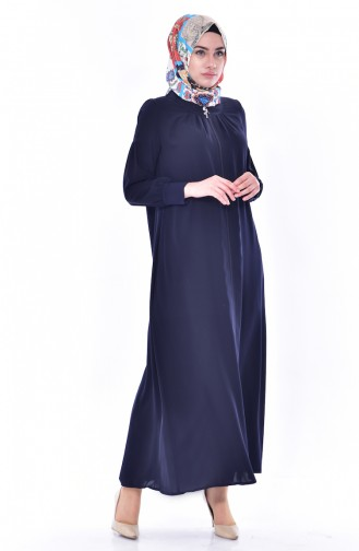 Zippered Abaya 1012-01 Navy Blue 1012-01