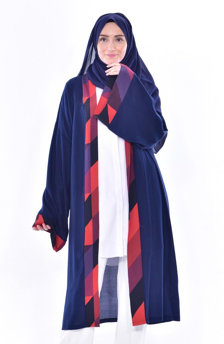 sefamerve lacivert kap mrym1507 02 3044301527505922960 1 Desenli Kimono 1507-02 Lacivert