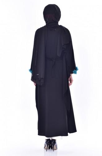 Abaya a Ceinture 0470-01 Noir 0470-01