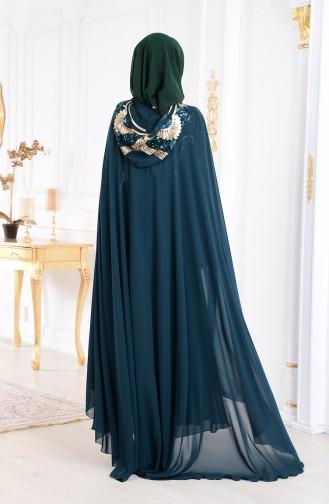 فستان سهرة من قطعتين 4009-05 لون اخضر زُمردي 4009-05