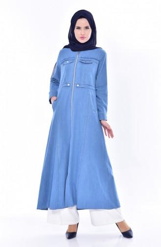 Jeans Hijab Mantel mit Taschen 4013-02 Blau 4013-02