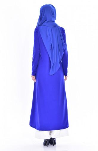 Abaya mit Patchwork 4456-08 Saks Blau 4456-08
