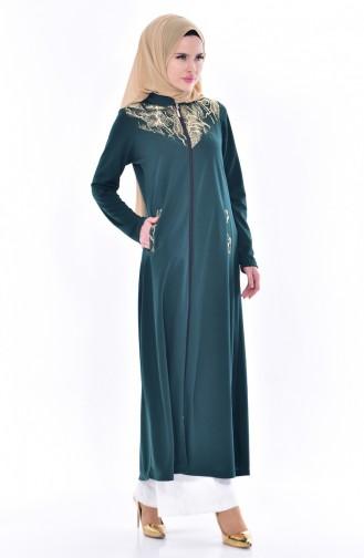 Abaya Garnie a Fermeture 4456-04 Vert emeraude 4456-04