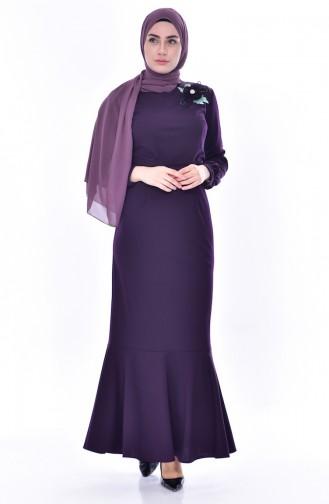 Broş Detaylı Elbise 3484-02 Mor