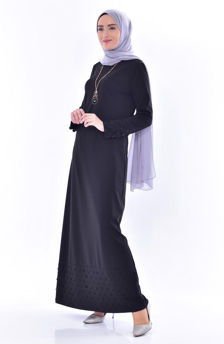 bc92895c92048 İnci Detaylı Elbise 3485-02 Siyah