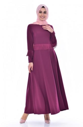 Hijab Kleid mit Fransen 1087-04 Zwetschge 1087-04