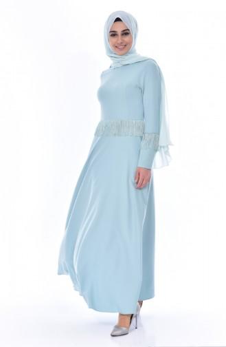 Hijab Kleid mit Fransen 1087-01 Unreife Mandelgrün 1087-01