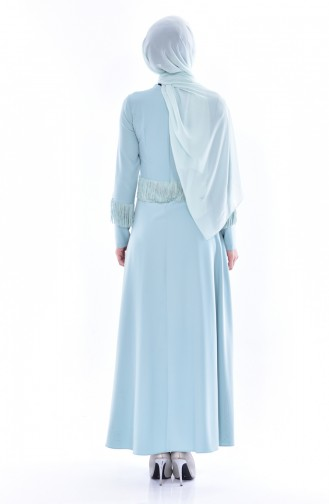 فستان بتفاصيل من الشراشيب 1087-01 لون أخضر فاتح 1087-01