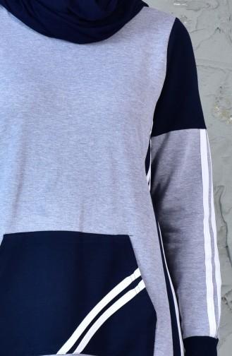 Sportkleid mit Tasche 8166-02 Grau 8166-02
