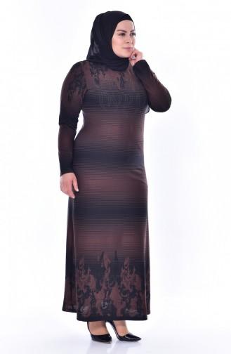Übergröße Strassstein Bedruckte Kleid 4888-01 Braun 4888-01