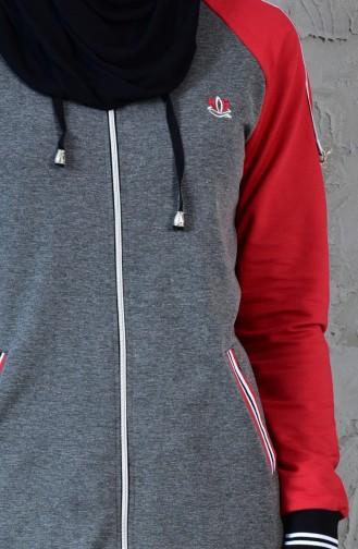 بدلة رياضية بتصميم سحاب 5020-03لون اسود مائل للرمادي واحمر 5020-03