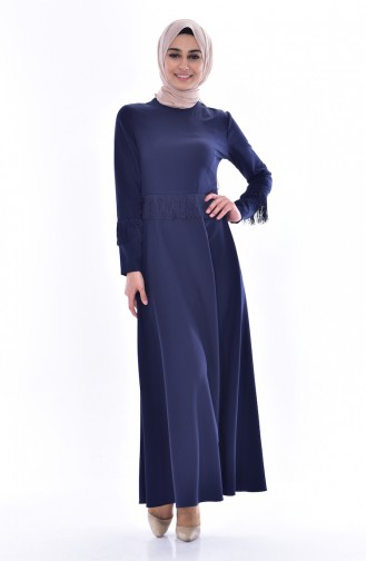 Tasseled Dress 1087-06 Navy Blue 1087-06