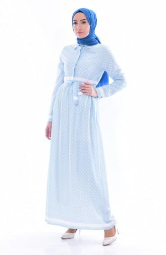 Robe a Ceinture et Pointillée 81567-05 Bleu 81567-05