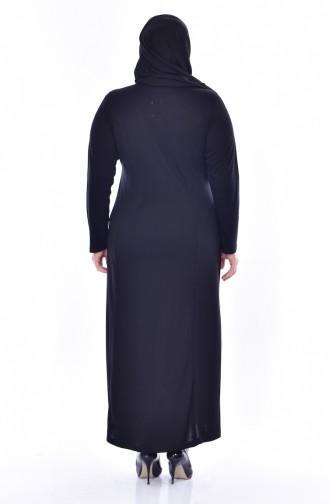 Robe Détail Dentelle Grande Taille 4860-04 Noir 4860-04