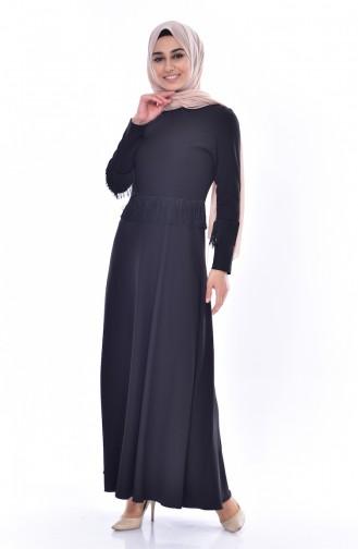 Püsküllü Elbise 1087-07 Siyah 1087-07