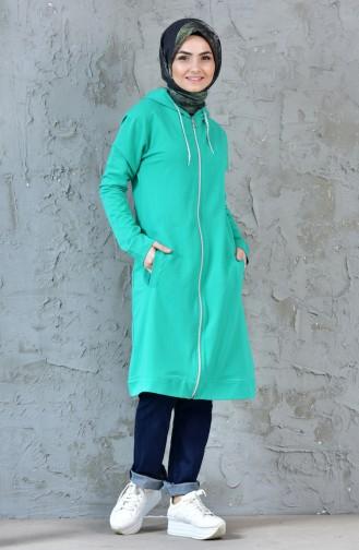 Fermuarlı Kapüşonlu Eşofman Tunik 18081-05 Yeşil