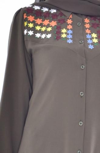 Asymetrische Tunika mit Stickerei 0809-03 Khaki 0809-03