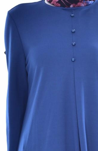 Kleid mit Knöpfen 8034-09 İndigo 8034-09