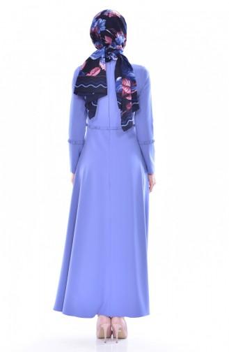 Robe Plissée 1086-02 Bleu 1086-02
