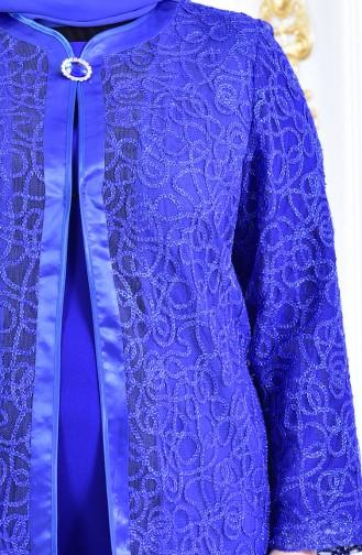 Ensemble de Soirée Deux Pieces Grande Taille 6137-03 Bleu Roi 6137-03
