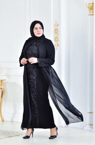 Habillé Hijab Noir 6141-01