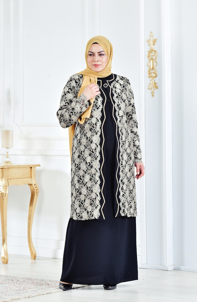4e0f93e457b5d Black Islamic Clothing Evening Dress 6135-04 ...