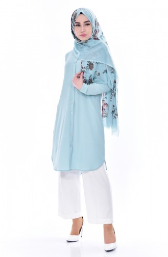Buttoned Tunic 0666-07 Almond Green 0666-07