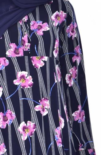 Blumen Gemustertes Kleid 4020-02 Dunkelblau Zwetschge 4020-02